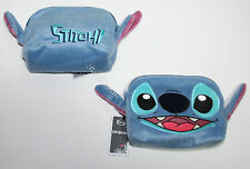 NEW Disney Lilo & Stitch Plush Head Ears Furry Cosmetic Make-Up Tote Bag Purse