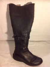 CIAK Black Knee High Leather Boots Size 38