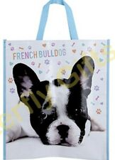 Large French Bull Dog Print Reusable Shopping Tote Bag