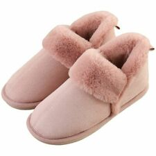 Womens Indoor Home Slippers Warm Fleece Lining Suede Boot Shoes Faux Fur Slipper