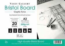A3 Bristol board Pad 250gm Ultra Smooth White Card. 20 Sheets 250gsm