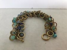 """Blue shades multiple glass beads bracelet small wrist 7"""" delicate gold tone"""