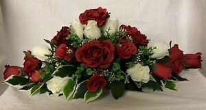 gorgeous wedding flowers table dec red & ivory roses gyp & variagated foliage