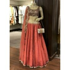 Orange Sequins Work lehenga choli Soft Net Lengha Dress Sari Saree dress indian