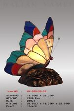 Tiffany Schmetterling ,Tiffanylampe Tiffany Lampe Tier, bunt Rand blau, neu S15