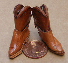 1:12 Scale Pair Of Brown Leather Cowboy Boots Tumdee Dolls House Footwear