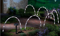 6 X LED Tube Solar Powered Garden Stick Arch Lights Decking Border Path Edging