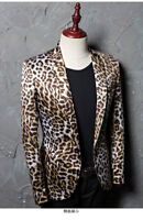 Fashion Men's Lapel Blazer Leopard One Button Bar Singer Clubwear Dress Jackets