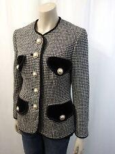 RENZO by UNGER Blazer Gr.36 Jacke Wollmischung mit Samt Schwarz Weiß Pepita 3912