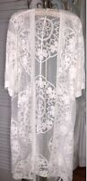 NEW Plus Size 1X Ivory Open Kimono Cardigan Mesh Lace Crochet Duster Topper