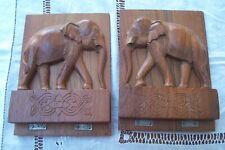 Vintage wooden bookshelves/ slides , nicely carved elephants