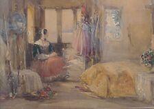 George Cattermole 1800-1868 Biedermeier interieur avec dame-très bonne qualité!