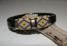 Regaliz Licorice Leather Beaded Bracelet  7' wrist, handcrafted