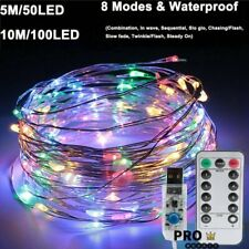 USB Twinkle LED String Fairy Lights 5-20M 50/100/200LED Copper Wire Party Remote