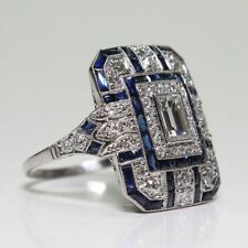 Art Deco Large 925 Jewelry Sterling Silver Blue Sapphire & Diamond Ring Hot