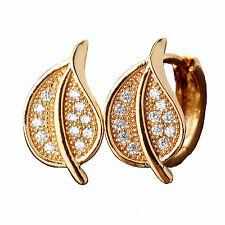 18K Yellow Gold created Brilliant Crystal Earrings MTUK093 Z3