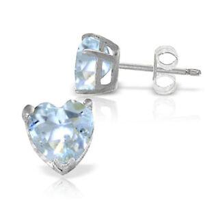 Genuine Aquamarine Heart Shape Gems Studs 14K. Yellow, White, Rose Gold Earrings