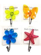2 x Suction Cups Window Glass Hooks Flower & Butterfly Bathroom Towel Hanger UK