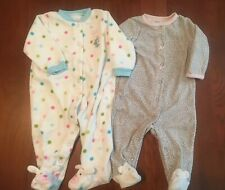 Carters Baby Girl 6 Months Set Of 2 Fleece Footed Sleepers Vguc Pink Blue Dots