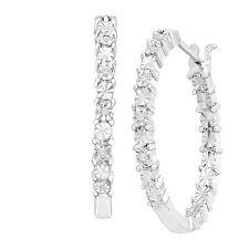 Front-Back Hoop Earrings with Diamonds in Sterling Silver