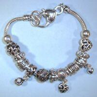European Charm All Silver Alloy Beads NEW Bracelet  Silver USA Seller