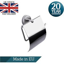 Toilet Roll Holder with Cover Wall Mounted Adhesive or Drilling Stainless Steel