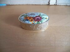 Pillendöschen Taplettenkästchen Pillenschatulle goldfarben Deckel mit Blumen