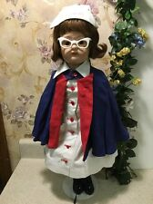 "Rare Antique SCHOENHUT Wood Jointed Nurse Doll 22"" w/ glasses & hat"