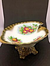 """Vintage! Unique Handpainted Porcelain Candy Dish Footed with Bronze Base~3.5""""x7"""""""