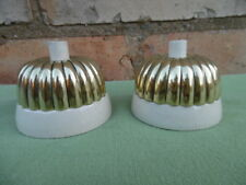 1 x EDWARDIAN BRASS & PORCELAIN JELLY MOULD PUSH BELLS POLISHED