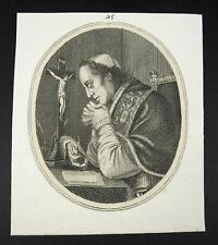 Pape Pie VII adoration de la Vierge Marie Pope Papa gravure 1800 religious print