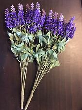 2 Bunches Artificial Plants & Flowers Silk Lavenders 40 cm Tall