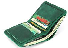 men women wallet purse cow Leather Card cases ID Holder Bifold bag green z936