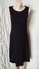 HOBBS great black 100% wool sleeveless dress with asymmetrical side size 12 UK