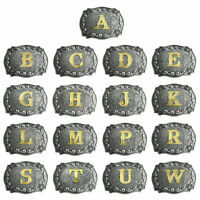 Women Men Initial Vintage Letters Rodeo Western Style Cowboy Belt Buckle