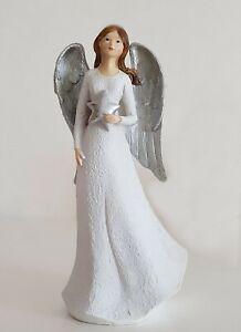 Engel mit Stern Skulptur stehend Dekofigur weiß silber Höhe 26cm