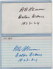 (2) AL HERMANN INDEX CARD SIGNED 1923-24 BOSTON BRAVES PSA/DNA CERTIFY 1899-1980