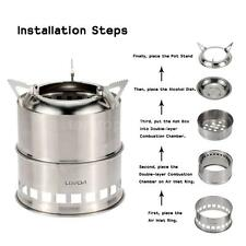 Stainless Steel Wood Stove Alcohol Stove Burner Outdoor Cooking BBQ Camping H1B8