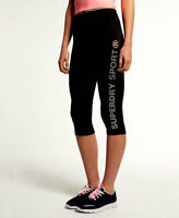 SUPERDRY SPORT Women's - GYM Sprint Capri Leggings - NEW - Black
