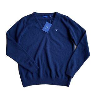 GANT Boy's Navy Blue V Neck Jumper Size L Approx 9 /10 Years NEW Wool Blend