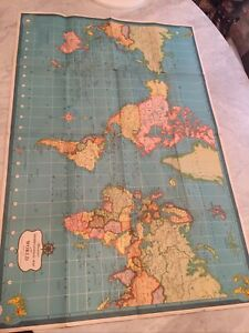 "Vtg Litho 1950's Hammond's International Map of the World 33"" x 50"" Lithograph"