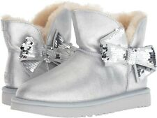 NEW UGG AUSTRALIA MINI SEQUIN BOW SILVER SHORT BOOTS SHOES WOMENS SIZE 6 BOOTIES
