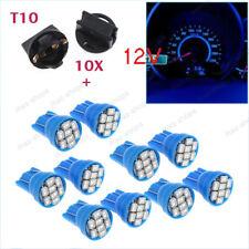 20X Blue T10 8SMD 194 LED Bulbs With Twist Lock Sockets Instrument Panel Lights