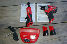 """Milwaukee 2457-20 M12 12V 3/8""""Cordless Ratchet and 2504-20 FUEL Hammer Drill lot"""