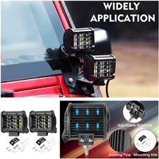 Pair 4'' Bulb 12-LEDs SUVs Jeep Pods Work Lights 6000K 120° Flood Beam Fog Lamps