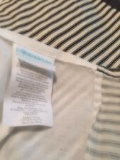 Waverly Garden Room King Stripe Bed Skirt /Ruffle Black / Ivory with Ribbon