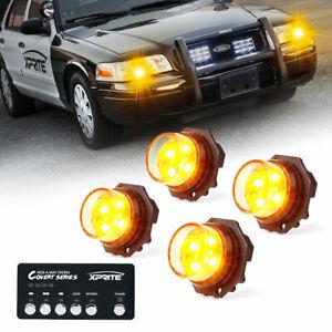 Xprite Yellow Hideaway LED Strobe Lights Vehicle Headlights High-Intensity Amber