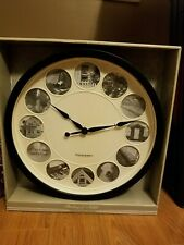 """Sterling & Noble Large 15"""" Photo Frame Wall Clock Matte Black Round"""