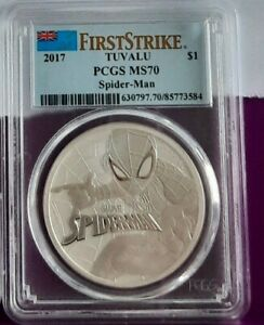 Graded/slabbed PGCS MS70 Top Pop Spiderman 1oz Silver Coin