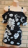 DOROTHY PERKINS MATERNITY BLACK WHITE FLORAL RUFFLE BARDOT BLOUSE TOP 12 M